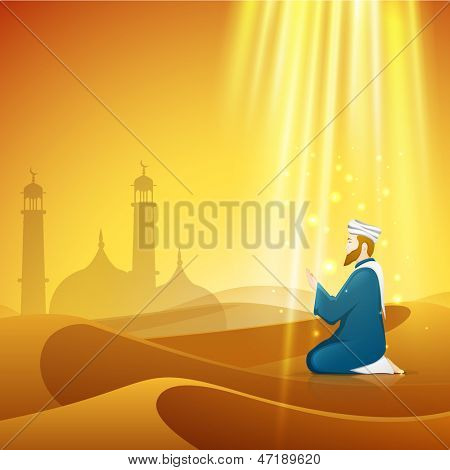 Holy month of Ramadan Kareem background with Muslim man praying(reading Namaz, Islamic prayer) with view of mosque on shiny abstract background.