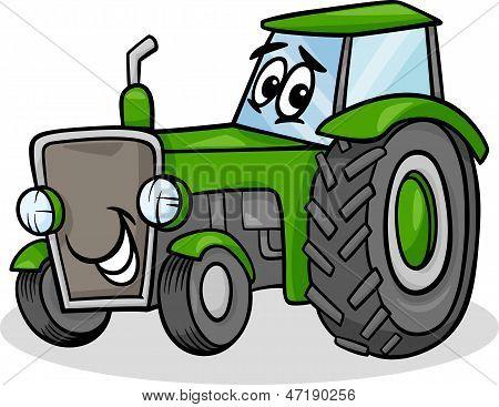 Traktor Charakter Cartoons Illustration