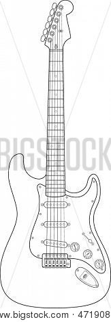 electric guitar line art