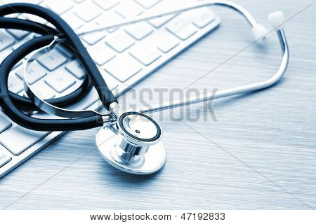 Stethoscope on the keyboard