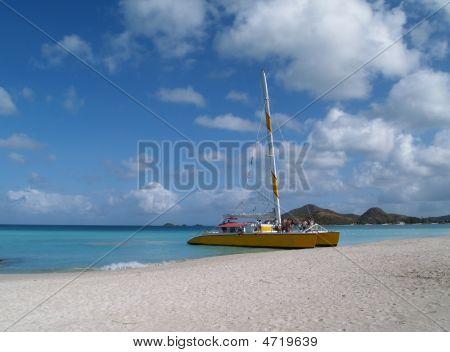 Catamaran On Jolly Beach, Antigua Barbuda