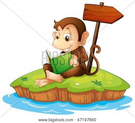 Illustration of a monkey reading a book in an island on a white background