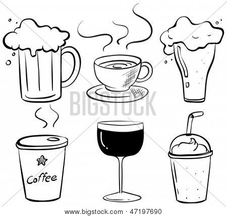 Illustration of the doodle design of the different kinds of drinks on a white background