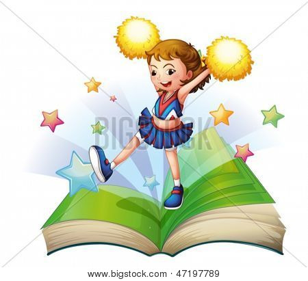 Illustration of a green storybook with a cheerdancer on a white background