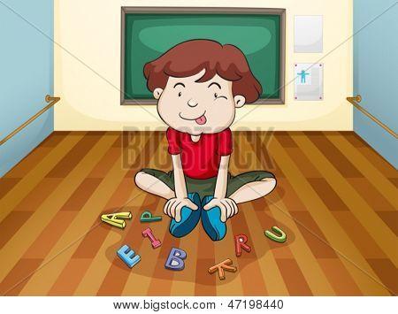 Abbildung eines dummen Jungen spielen Buchstaben