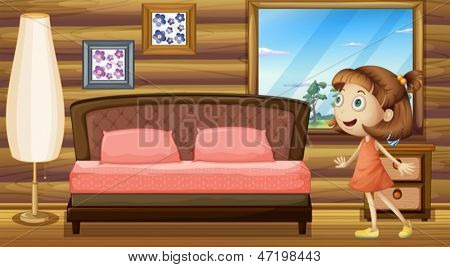 Illustration of a happy girl inside her bed