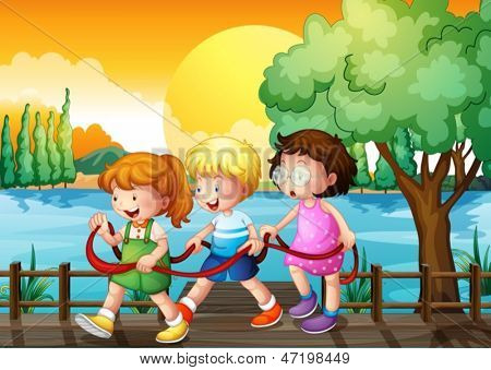 Illustration of the three kids playing inside the ribbon at the wooden bridge