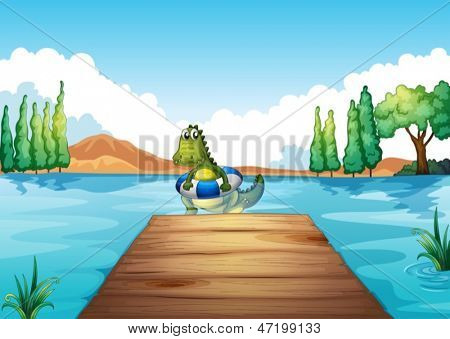 Illustration of a crocodile inside a buoy swimming