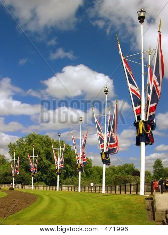 Great Britain Flags Near Buckingham Palace