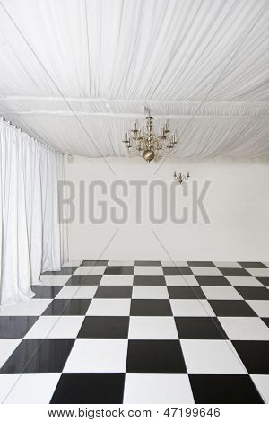 Checkered floor in pop up Marquee