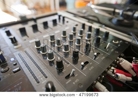 Close up of DJ mixer