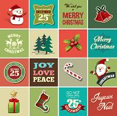 Christmas design elements for greeting card, gift tags and stickers