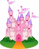 stock photo of fairy-tale  - Vector Illustration of a Fairy Tale Princess Castle - JPG
