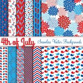 stock photo of mums  - Fourth of July Vector Seamless Tileable Backgrounds - JPG