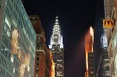 NEW YORK CITY, NY, USA - DEC 30: Chrysler Building at night with street on December 30, 2011, New Yo