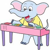 image of organist  - Cartoon Elephant playing an electronic organ - JPG