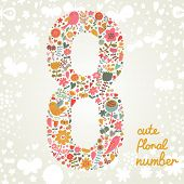 The number Eight. Bright floral element of colorful alphabet made from birds, flowers, petals, heart