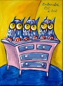 stock photo of nursery rhyme  - Three owls on a chest of drawers - JPG