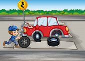 foto of kinetic  - Illustration of a boy repairing a car near the signage - JPG