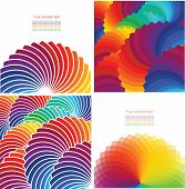 Set of four abstract background with spectrum wheels