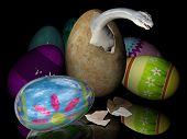 stock photo of dinosaur-eggs  - Bad easter eggs with dinosaurs inside - JPG