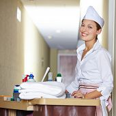Happy cleaning lady with cleaning cart doing housekeeping in hotel