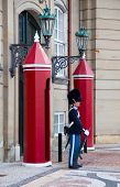 COPENHAGEN, DENMARK - AUGUST 25: unidentified soldiers of the Royal Guard in Amalienborg Castle by c