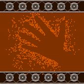 foto of aborigines  - A illustration based on aboriginal style of dot painting depicting hand - JPG