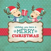 image of deer  - Two little reindeers christmas card - JPG