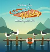 stock photo of flock seagulls  - Summer holiday - JPG