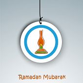 Holy month of Muslim community Ramadan Kareem background with illuminated tradition lantern on hangi