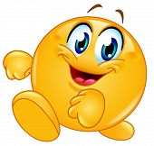 pic of emoticon  - Happy emoticon walking - JPG