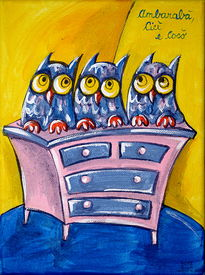 foto of nursery rhyme  - Three owls on a chest of drawers - JPG
