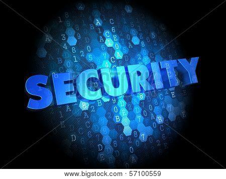 Security on Dark Digital Background.