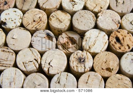Wine Corks In Horizontal Stacked Arrangement.