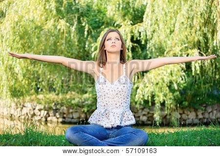 Woman At Meditation Outdoor