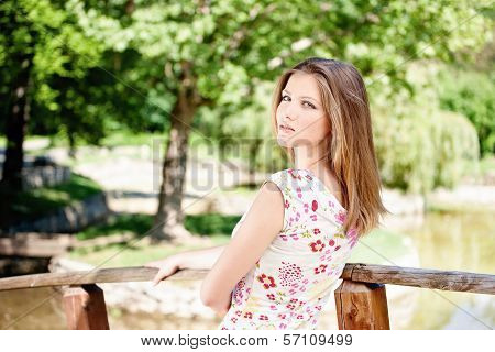 Woman On Sunny Day In Park