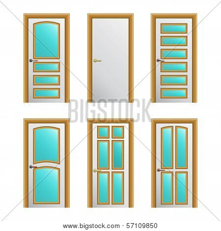 Set Of 6 White Painted Doors With Golden Profiles With Glass Insertions. Eps10