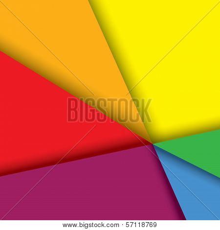 Colorful Paper Background With Lines & Shadows - Vector Graphic