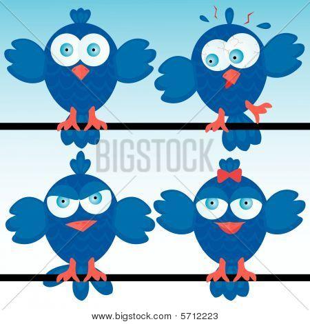 Funny cartoon bluebirds icon set