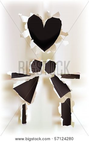 Romantic couple on the date, abstract ripped paper background