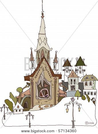 Old city background  with cathedral and church