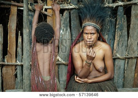 Portrait Of Young Papuan Woman In Dugum Dani Village