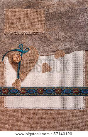 Valentine Background Hand-sewn Hearts Texstile