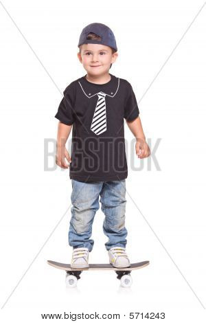 Little child on a skateboard