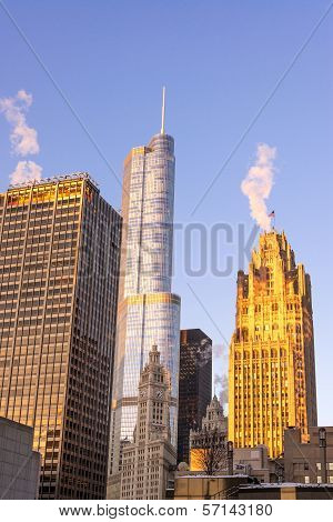 Chicago Skyscrapers At Sunrise