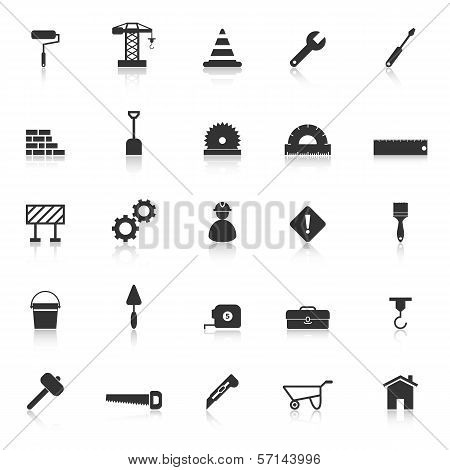 Construction Icons With Reflect On White Background