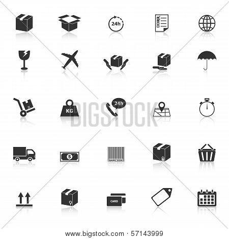 Shipping Icons With Reflect On White Background