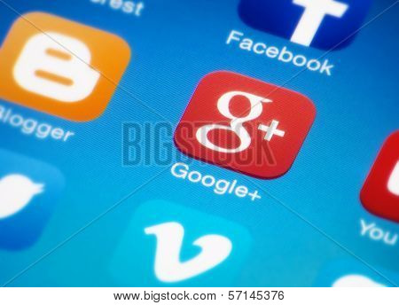 Google plus icon on smartphone