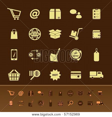 Ecommerce Color Icons On Brown Background